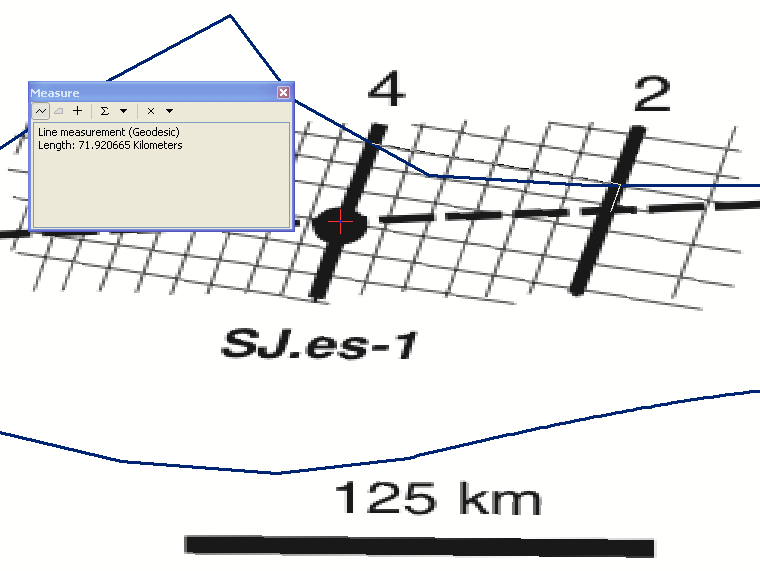 Seismic line spacing between SL4 and SL2 is about 70 km according to the georeferenced image.