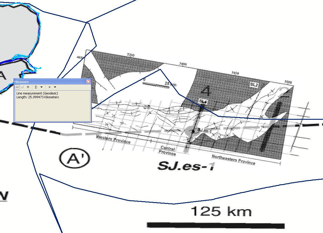 Scaled and rotated structural map (transparent, on top of overview map) with a best fit to the overview map. Note the mismatch not only in the way the lines are rotated (could be due to the different projections) but also the distance between the the two seismic lines in the overview map (more than 70 km) and in the structural map.