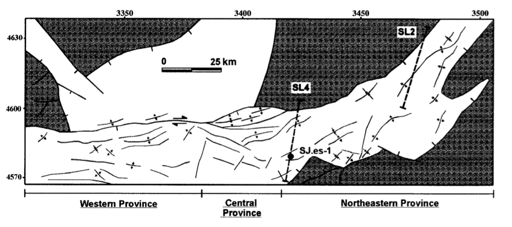 The structural map (modified from original). Seismic line spacing around 40-50km (not 70 km like in the overview map) and the lines are slightly rotated relative to each other and not parallel (like in the overview map).